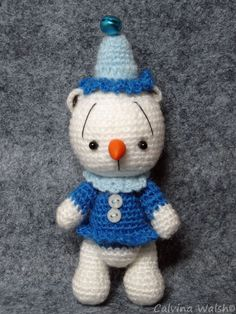 Frostine SnowGirl Mini Crochet Bear of Thread by Teddy Bear Artist Calvina Walsh #Christmas