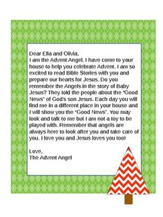 Are you looking for a fun and spiritual activity to do with the kiddos leading up to Christmas? The Advent Angel has all of the fun of the Elf on a Shelf but with a focus on the true meaning of Christmas. This is the original letter that the advent angel sends.