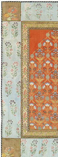 detail from a silk cover with metallic-wrapped threads. Believed to be century North Indian. Collection of The Textile Museum and included in The Sultan's Garden: The Blossoming of Ottoman Art. Textile Museum, Art Textile, Textile Design, Fabric Design, Pattern Design, Motifs Textiles, Textile Fabrics, Textile Patterns, Print Patterns