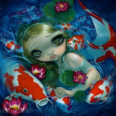 Swimming with Koi - Strangeling: The Art of Jasmine Becket-Griffith - www.strangeling.com