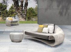 Croissant 3 seater from Kenneth Cobonpue collection is as ergonomic as it is visually relaxing. Its gentle slopes glide down to the arm rests as if to encourage a posture of leisure. Available at IDUS Furniture Store, New Delhi, India. Wicker Patio Furniture, Outdoor Garden Furniture, Outdoor Sofa, Outdoor Decor, Outdoor Seating, Luxury Bedroom Furniture, Living Room Furniture, Home Furniture, Furniture Design