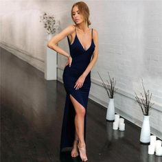 Nadafair Deep V Neck Sexy Party Maxi Dress Women Backless High Side Split Strap Slim Long Bodycon Club Summer Dress Vestidos Red High Slit Dress, Maxi Dress With Slit, Black Bodycon Dress, Wrap Dress, Dresses For Less, Party Dresses For Women, Short Dresses, Ball Dresses, Sexy Dresses