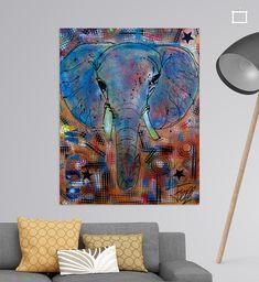 Kleurrijk schilderij van een krachtig dier.<br>Dit dier geeft kracht en kleur aan de ruimte waar hij hangt. <br><br>Olifant, wild, wildlife, Afrika, dieren, natuur, kinderkamer, keuken, kantoor Paintings, Canvas, Night, Artwork, Prints, Africa, Tela, Work Of Art, Paint
