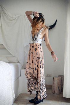 skirt pink long skirt maxi skirt hippie moon peach boho boho skirt skulls cow skulls dimonds eagles birds feathers pattern moons bohemian in...