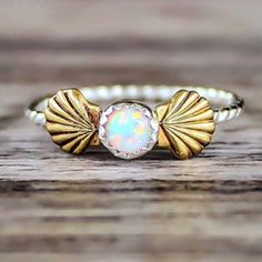 Opal Ring Sterling Silver and Brass Ring with Opal Made with Synthetic Opal Part of our 'Mermaid' Collection