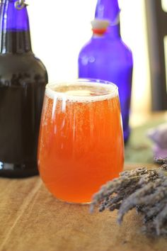 Lovely, healthy lavender spiked kombucha. Read the recipe on Honest Cooking!