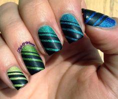 Revealing Ombre - #ombre #greennails #ombrenails #blackstripenails #nailart #glitternails #flightofwhimsy - Share/explore more nail looks at bellashoot.com!