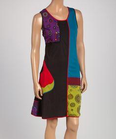 Look what I found on #zulily! Black & Blue Mixed Media Sleeveless Dress #zulilyfinds