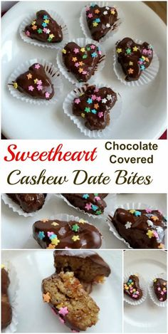 These decadent yet healthy Sweetheart Chocolate Covered Cashew Date Bites are the perfect Valentines treat! Made with whole food ingredients they are also dairy- and gluten-free, vegan, and simply delicious. #ValentinesDay #vegan #veganrecipe #glutenfree