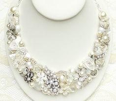 Pearl Bridal Bib Necklace- Bridal Statement Necklace- Rhinestone Wedding Jewelry- Chunky Bridal Necklace