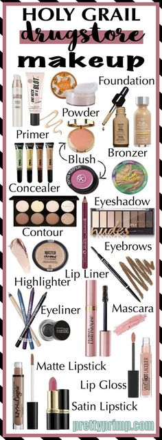 The complete list of must have drugstore makeup. This list covers foundation, products for eyebrows, eyeshadows, and much more.