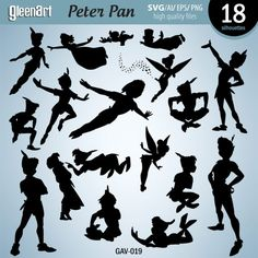 Peter Pan Silouettes, Cutting Files, Disney Clipart, Vector file, Printable digital file, svg, ai, eps, png INSTANT DOWNLOAD