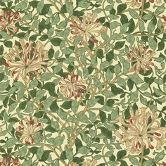 Honeysuckle Wallpaper A pretty wallpaper featuring a design of tangled honeysuckle, shown in green, faded coral and pink on a cream ground. Designed by May Morris in 1883.