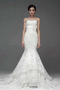 Sweep Train Ivory Vintage Mermaid Strapless Sash Bridal Gown [NW0723] - PersunMall.com