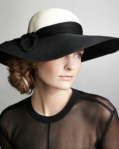 Eugenia Kim Honey Wide-Brim Scarf Hat, Black/Ivory - Neiman Marcus=365.     <3<3