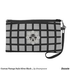 Custom Vintage Style Silver Black Checked Wristlet Purses