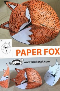PAPER FOX - Kreatywnie - Kolorowanki szablony - Crafts world Diy Crafts For School, Christmas Crafts For Kids To Make, Paper Crafts For Kids, Projects For Kids, Diy For Kids, Easy Crafts, Fox Crafts, Animal Crafts, Art Lessons Elementary