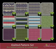 [fabric] Knitted Pattern Set - Custom Content for the Sims 3 by Simlicious