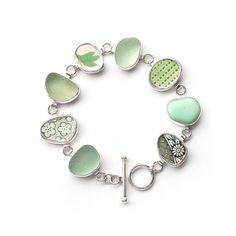 Pottery Shard and Sea Glass Bracelet bezel set by ShardsbyTania, £185.00