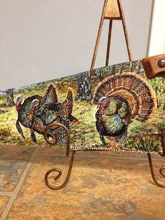 Painted handsaw turkey's fall decor wildlife oil