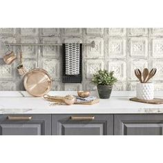 NextWall Distressed Tin Tile Peel and Stick Removable Wallpaper - in. W x 18 ft. W x 18 ft. L - Cream & Charcoal), Ivory Lining Dresser Drawers, Bungalow, Charcoal Wallpaper, Peelable Wallpaper, Tin Tiles, Tuile, Design Repeats, Smooth Walls, Peel And Stick Wallpaper