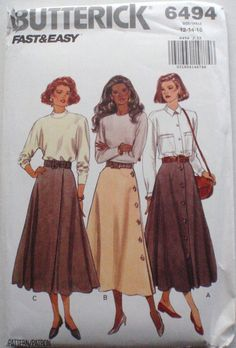 Butterick 6494 - Misses/Misses Petite Front Button, Side Button and Front Wrap Skirts - Sizes 12-14-16, Waist 26 1/2 - 30, UNCUT by Shelleyville on Etsy