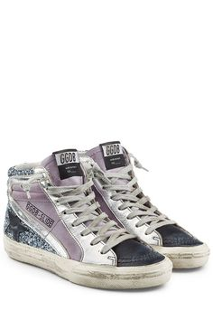 Glitter and Leather Slide Sneakers | Golden Goose