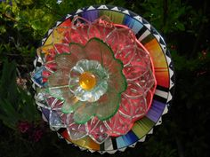 Garden Art Glass Plate Flower Re Purposed by TheEverlastingGarden