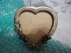 FINE PEWTER  HEART  PHOTO FRAME WITH ROSES ON BOTTOM