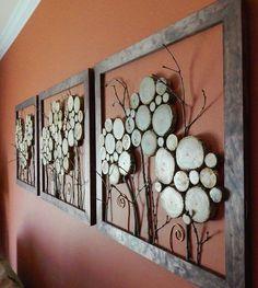 14 wood slice framed art - Shelterness