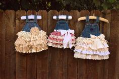 denim vintage linen and lace flower girl by VintageBabyLace, $65.00