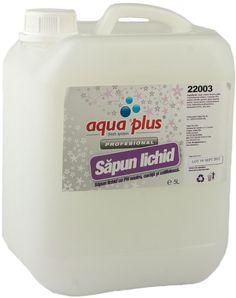 Sapun lichid Aqua Plus Satin 5l cu glicerina, PH neutru, catifelat, placut parfumat.