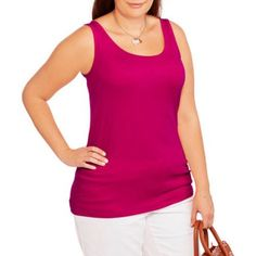 Faded Glory Women's Plus-Size Essential Layering Tank, Pink