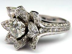 Lotus Diamond Engagement Ring  - ES997BR