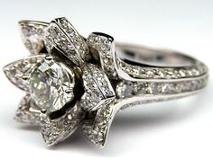 MDC Diamonds...Lotus Diamond Engagement Ring In 14K White Gold