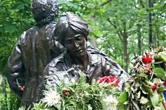One of the Vietnam War Memorial statues in Washington DC
