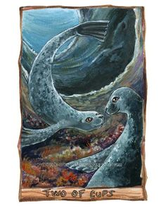 Seal Art Print Tarot Card Artwork Two of Cups by rainbowofcrazy, $17.50