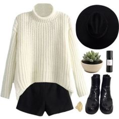 Here Comes The Sun Outfit Ideas with White Sweater, Mid-rise Zipped Woolen Shorts, Black Patent  ...