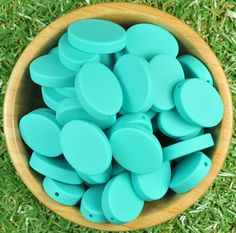 Oval Disc Silicone Bead 10pk - Turquoise - Silicone Beads Australia™