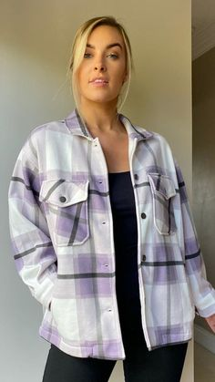 Step out in style this A/W with this check print fleece lined shacket.