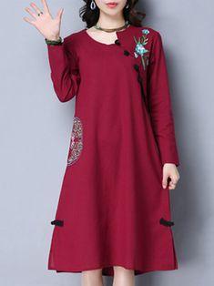 Vintage Women Long Sleeve Plate Buckle Embroidery Loose Dresses