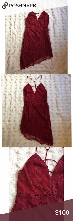 NBD red lace dress NBD Red Lace Dress size Medium in perfect condition never been worn. NBD Dresses Mini