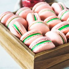 These Strawberry Mint Macarons are filled with mint buttercream and homemade strawberry jam. Made using the swiss method! Homemade Strawberry Jam, Strawberry Syrup, Chocolate Chip Cookies, Chocolate Chips, List Of Flavors, Macaron Template, How To Make Macarons, Making Macarons, Macaron Recipe