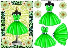 Green Floral Cocktail Dress Card Front