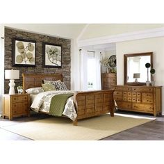 The Grandpa& Cabin bedroom set includes a queen sleigh bed. a dresser. a mirror. a night stand and a chest. The Grandpa& Cabin Bedroom Collection offers a rustic American design for your bedroom. The sleigh bed is constructed with sel. 5 Piece Bedroom Set, King Bedroom Sets, Queen Bedroom, Master Bedroom, Dream Bedroom, American Bedroom, Sleigh Bedroom Set, Liberty Furniture, Hillsdale Furniture
