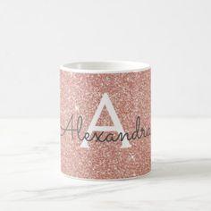 Rose Gold Sparkle Glitter Monogram Name & Initial Coffee Mug - home decor design art diy cyo custom