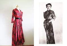 RESERVED..............................1940s Red Taffeta Plaid Dressing Gown / 40s Hostess Gown by Textron / Red Plaid Robe by TheOneILoveVintage on Etsy