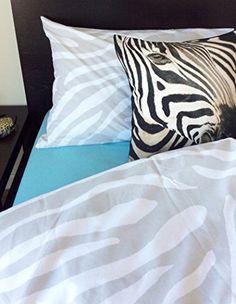 zebra animal print cotton duvet quilt cover grey white gray 2pc set twin single 100