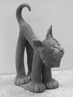 Cat Ceramic Sculpture - no link to original site.  Very cute!