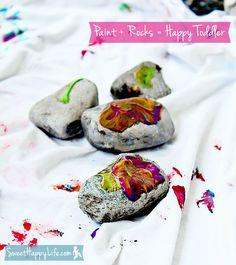Paint + Rocks = Happy Toddler